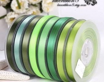 """100 Yards - 3/8"""" 9mm Green Satin Ribbons, Double Faced, Wholesale Satin Ribbon, Crafts DIY Hair Bows Ribbon"""