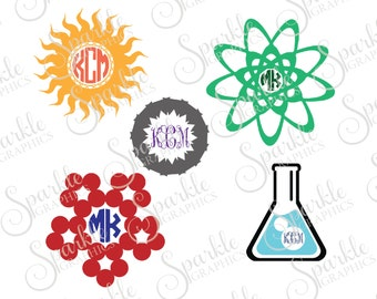 Science Monogram Frame Set Science Teacher Beaker Neuron Laboratory Clipart Svg Dxf Eps Png Silhouette Cricut Cut File Commercial Use SVG