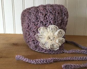 Sweet Baby Bonnet Hat in Lavendar Mist with Blush flower - hand crochey baby hat newborn photo prop - Ready to Ship