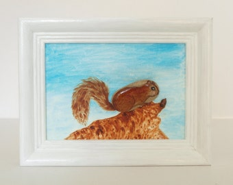 3D-Steinbild with oil paint painted: Squirrel will find it