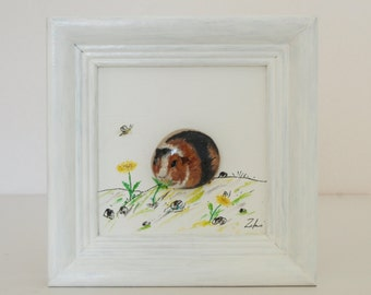 Handmade, unique, unique, painted decoration, birthday gift 3D-Steinbild with oil paint: dandelion eats brown-black Guinea pig