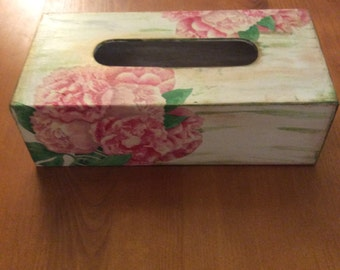 Hand decoupated and painted tissue box