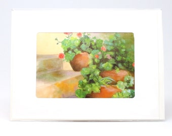 "Fine Art ""Geraniums"" Blank Single Card With Envelope"