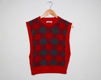 S/M 1990's Red Plaid Vest
