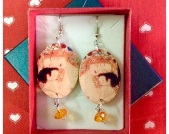 "Earrings ""mother and child-Klimt"""