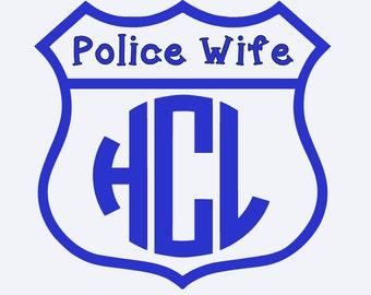 Police Wife Monogram, Police Wife Car Sticker