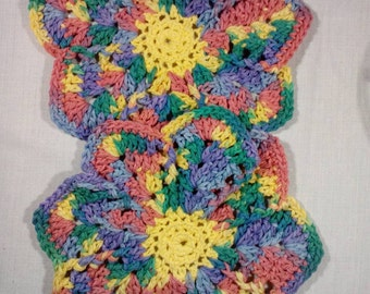 Dish Cloths, Set of Two, Wash Cloths, 100% Cotton, Handmade Crochet, Rainbow Colors