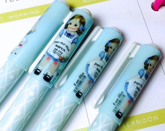 Blue Paper doll Pen-Diamonds and Dots