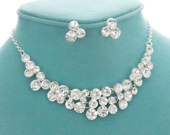 Crystal bridal necklace, Bridal jewelry set, Bridal earrings, Rhinestone wedding necklace, Bridesmaid necklace, Wedding jewelry 1S0156