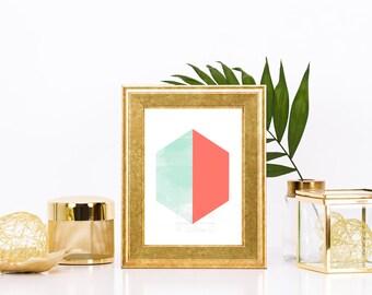 Coral and Mint Minimalist Hexagon Print