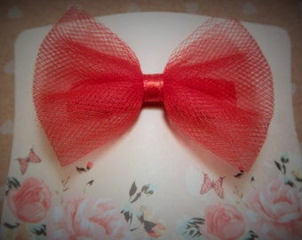 Red Tulle Hair Bow