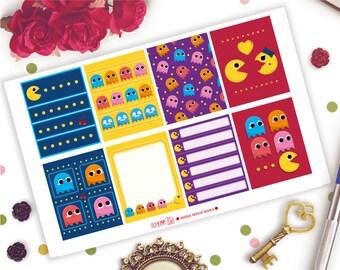 EC Vertical & Happy Planner | Waka Waka Waka Full Boxes Planner Stickers | Pacman | Video Games | Pixels | Retro