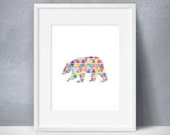 Bear, Geometric Triangle Art, Rainbow, Colorful, Shapes, Multicolored, Animal Art, Wildlife, Modern Art, Affordable Art, Print At Home
