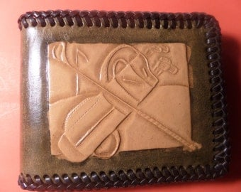 Leather Sports Wallet / Hand Made / Hand Carved / Hand Tooled / Canadian Made / All Occasions /  Also Customizing  / .