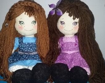 "Custom DESIGN YOUR OWN 18"" fabric rag doll handmade"