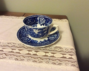 Vintage Miniature Size Arabia Finland Flow Blue and White Demitasse Cup and Saucer