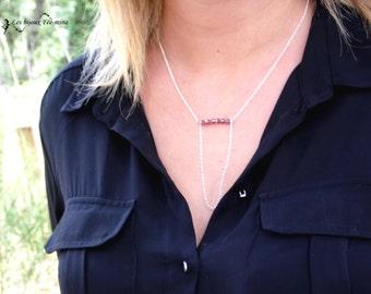 Necklace medium Ines, Amethyst Pearl