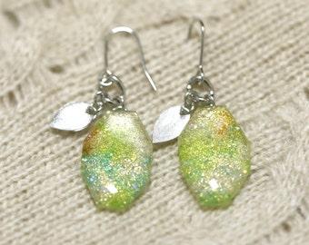 Vintage style earrings, colorful sparkling earrings, handmade