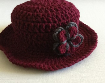 Crochet baby hat, baby girl hat, dark red hat,photo prop, kids fashion, baby hat, baby girl