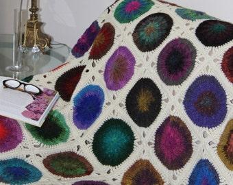 Crochet afghan, crochet blanket, multicolour throw, Noro Kureyon yarn, granny square, handmade throw, crochet throw
