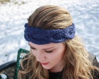 3 strand braid cable knit headband, earwarmer, adult