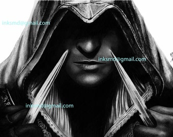A3 art print Ezio Assassins Creed, assassins creed brotherhood