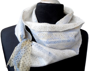 White, Ivory, Blue Felted Scarf