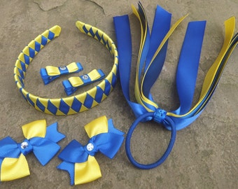 School Hair Accessories,Bobbles, Clips, Ponytail streamer, Royal Blue, Yellow,Purple, Gold, School Set, Woven Headband,  Hair Bows