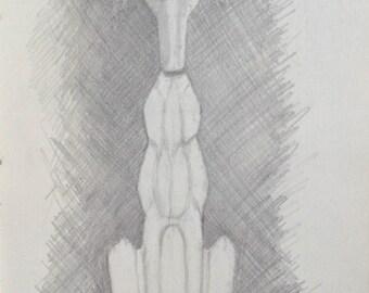 "Original Drawing ""Greyhound"""