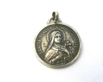 Vintage French Silver Saint Therese Medal