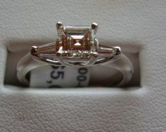 New GIA Certified .60 carat VS2- H Asscher cut diamond with .20 cttw baguettes 14kt white gold