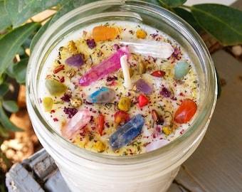 Aura quartz & gemstone candle - vegan candle - crystal candle