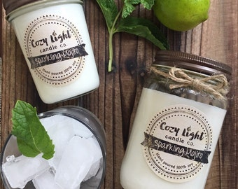 40% OFF SALE | Sparkling Mojito Soy Candle | Mason Jar Candle | Summer Scent | Handpoured