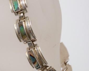 Bracelet inlaid Abole shell signed Taxco E.D.P. 925 Hecho Mexico