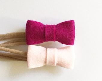 Felt Emmi baby bow headband (choose your own colors)