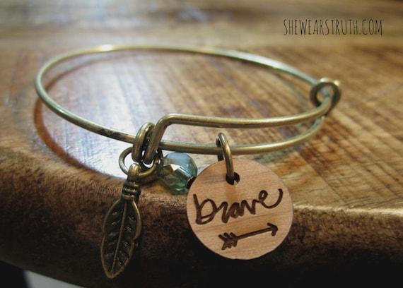 Brave / Bangle / Stacking Bracelet / Expandable / Feather Charm / Arrow Design / Antique Brass / Teal Accent