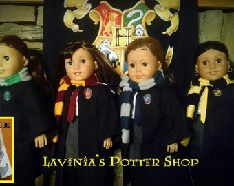 "Harry Potter Hogwarts Robes, Gryffindor, Ravenclaw, Hufflepuff, Slytherin for 18"" American Girl Doll"