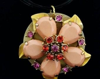 Pendant - Vintage Brooch Pendant - Stunning Upcycled Vintage Flower Brooch Pendant