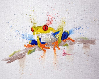 Loose Watercolor Red Eyed Tree Frog