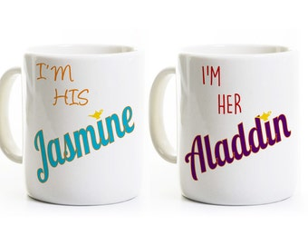 Aladdin and Jasmine Coffee Mugs - Gift for Couples -His and Her Anniversary Wedding Gift -Engagement Gift -Coffee Mugs