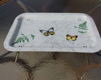 Mid century Butterflies and ferns, Lap table/T.V. tray. White background.