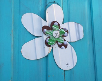 "19"" rustic tin flower, hand cut tin flower, rustic tin flower, rustic garden decor"