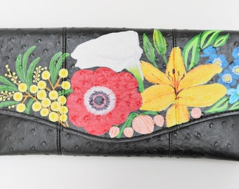 Handpainted clutch / Clutch Bag / clutch purse / clutch purse/ shoulder bag / floral / painted / handpainted purse / handpainted bag
