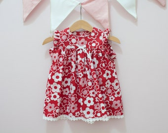 Red Floral Dress, Flower pattern Dress, 6 months size, Ready to ship