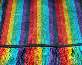 Striped multicoloured fringed hippy bag
