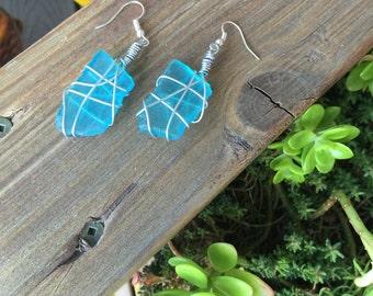 Wire Wrapped Beach Glass Earrings
