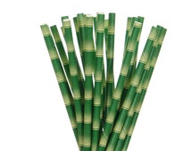Paper Straws, Green Straws, Green Bamboo Straws, Jungle Party Paper Straws, Garden Party Straws, Luau Party Straws, Hawaiian Party Straws