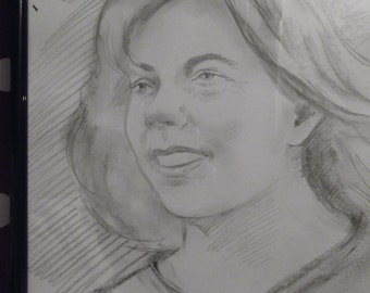Portrait in charcoal from picture