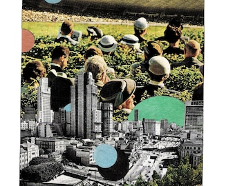 "Collage art, mid century, surreal, ""Cheap Seats"""