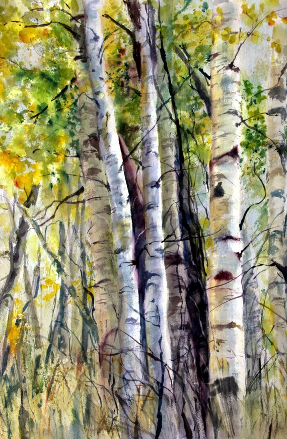 Aspen Grove 9 -- signed print of a watercolor painting done by Columbia Gorge artist Bonnie White